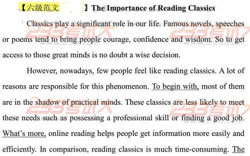2012年12月英语六级作文预测及范文:读古典文学的重要性