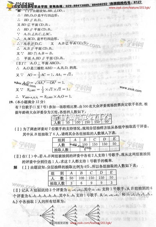 2013年陕西高考文科数学卷 图片版