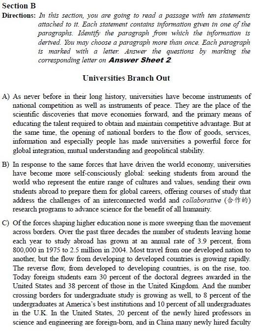 英语四级改革后长篇阅读样题